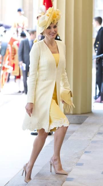 La reina Letizia, vestida de Felipe Varela, en su visita de Estado a Londres el pasado julio.