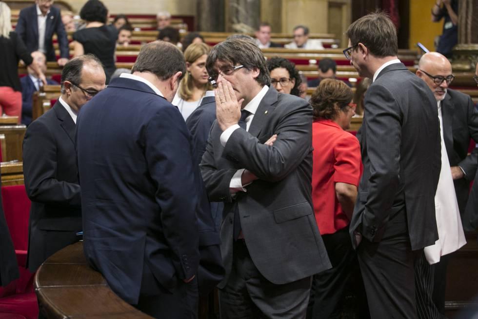 El Parlament de Cataluña, durante el pleno en el que se aprobó la ley del referéndum.