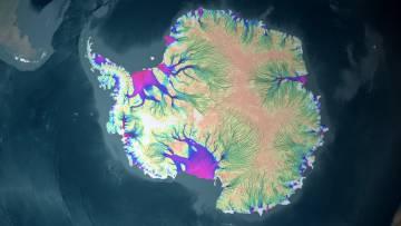 Un mapa de velocidad de las corrientes de hielo antárticas mientras se mueven hacia el océano.
