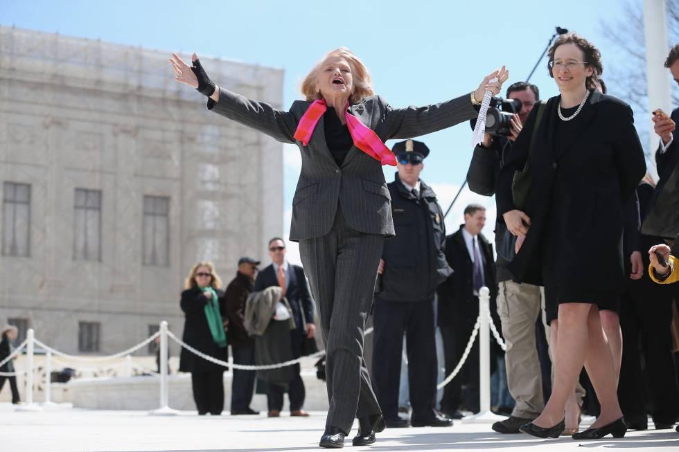 Edith Windsor, tras declarar en el Tribunal Supremo en 2013 contra la ley discriminatoria para la comunidad LGTBIQ