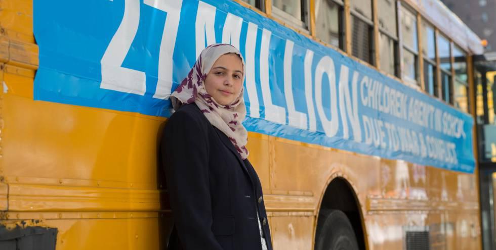 Muzoon Almellehan, embajadora de buena voluntad de Unicef, respaldando la campaña por la educación en Nueva York.