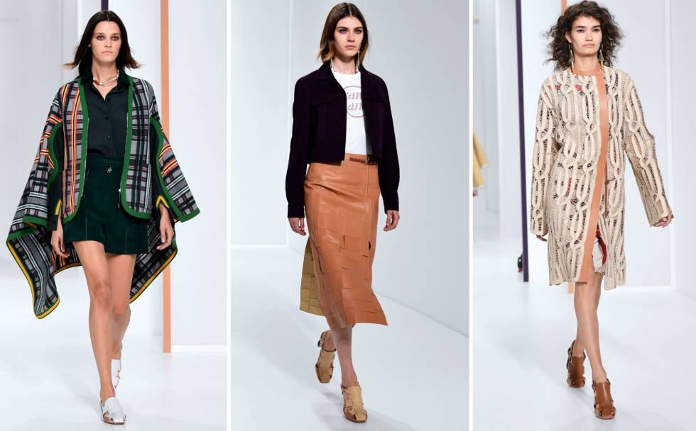 Las modelos desfilan vestidas de Hermès este lunes en la Semana de la moda de París.