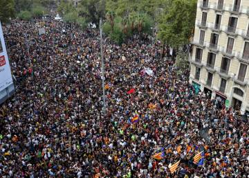 Tens of thousands take to streets of Catalonia on day of general strike