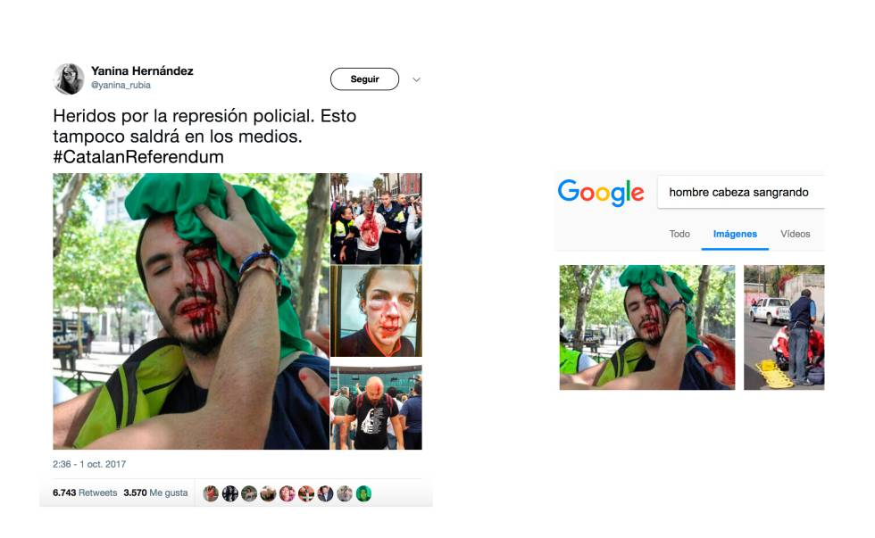 Fake images from the Catalan referendum shared on social media