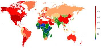 El mapa mundial de la obesidad infantil y juvenil. En rojo, los países más afectados.