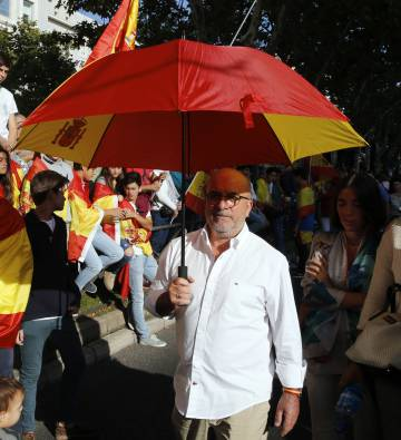 Spanish flags were on prominent display at the October 12 parade in Madrid.