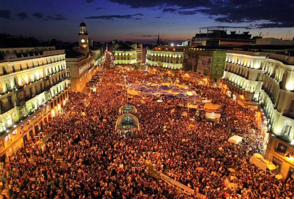 Sexto día de las protestas del 15M en la Puerta del Sol.