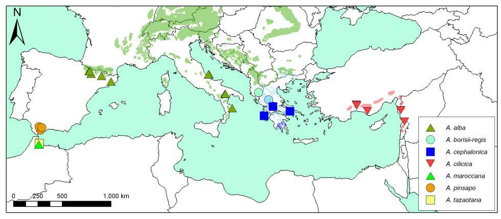 Mapa con los bosques y especies de abetos incluidos en el estudio.