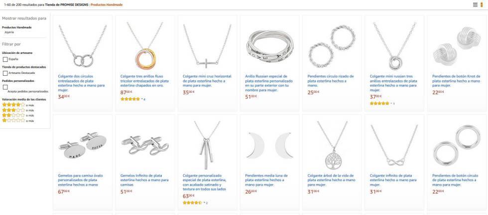 Catálogo de joyas de Promise Designs en Amazon Handmade.