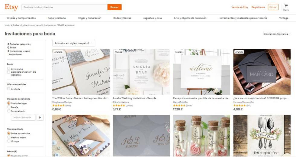 Página de compra de productos artesanales en Etsy.