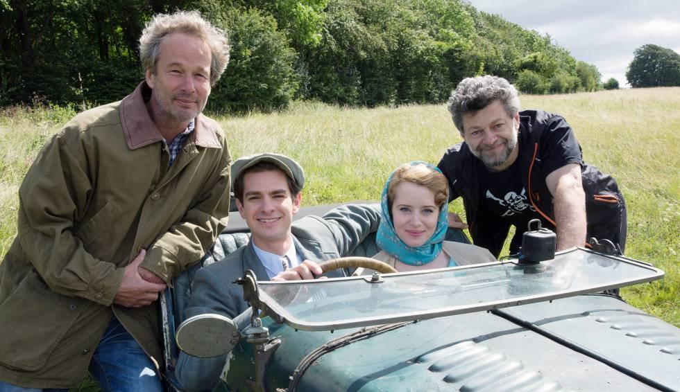 De izquierda a derecha: el productor Jonathan Cavendish, los actores Andrew Garfield y Claire Foy y el director de 'Una razón para vivir' Andy Serkis.