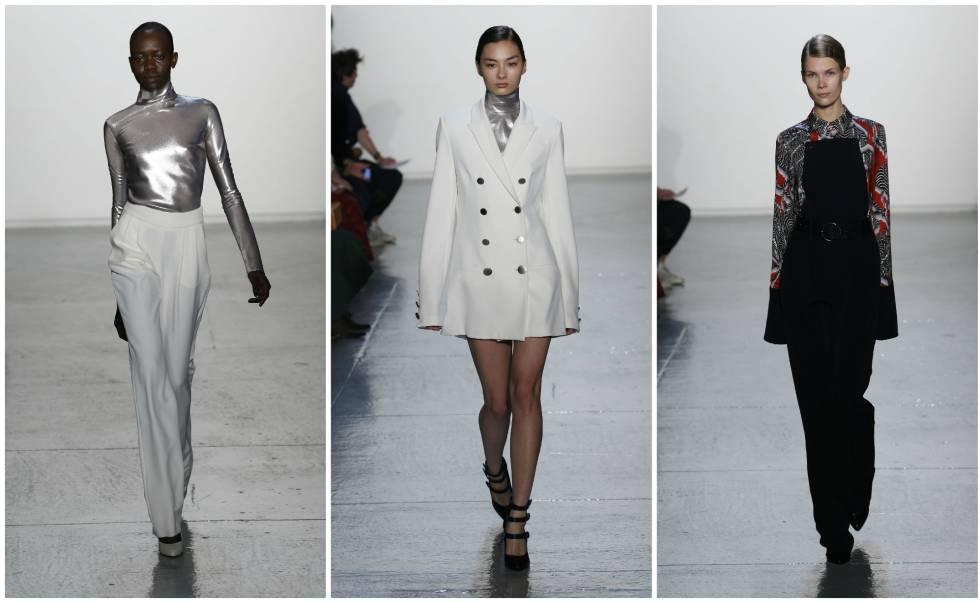 Tres de los diseños de Misha Nonoo, presentados en la Semana de la Moda de Nueva York en febrero de 2015.