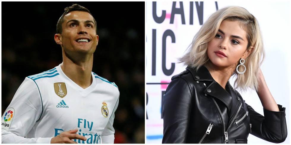 El futbolista Cristiano Ronaldo y, a la derecha, la cantante Selena Gomez.