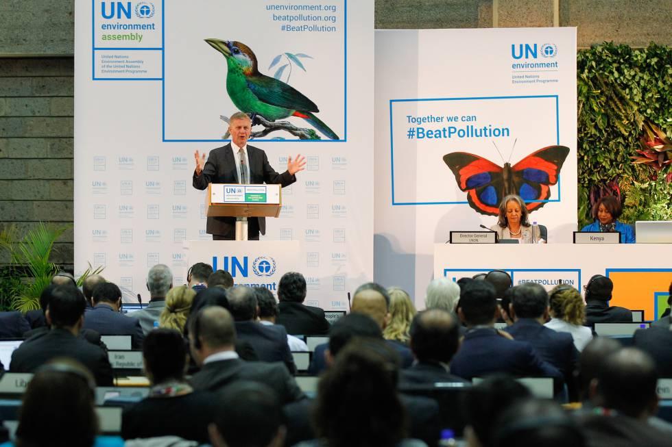 Erik Solheim, director de ONU Medioambiente, en la inauguración de la Asamblea de Naciones unidas sobre Medioambiente, en Nairobi (Kenia), este lunes.