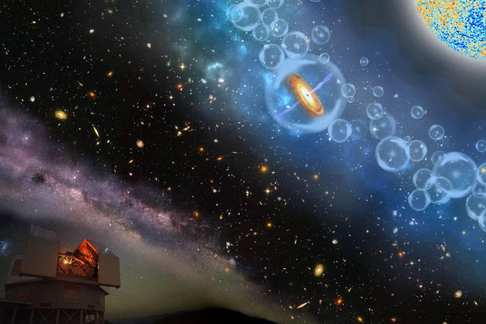Recreación del cuásar más antiguo del universo descubierto desde un observatorio chileno