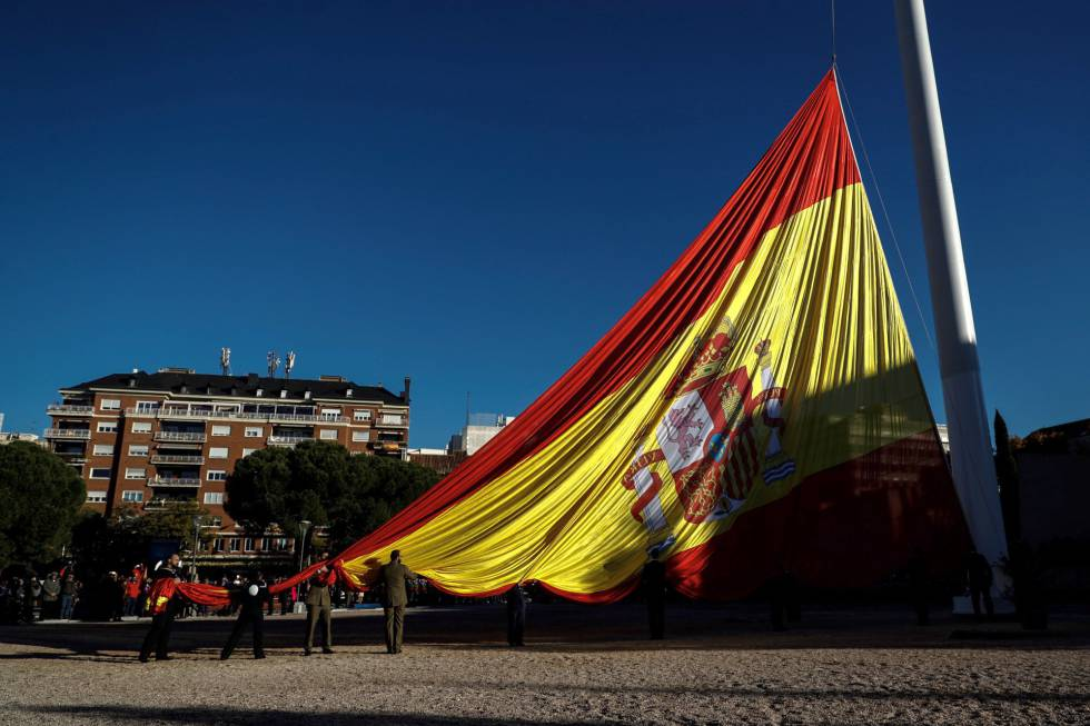 The Spanish flag is raised at Plaza de Colón in Madrid to observe Constitution Day.