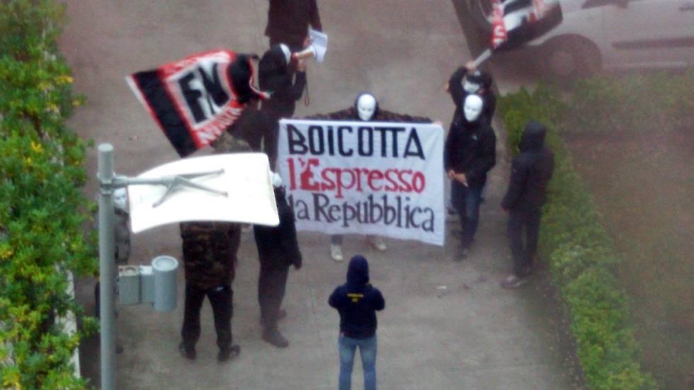 Ataque de la ultraderechista Forza Nuova al diario La Repubblica.