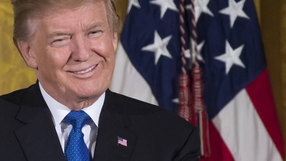 Donald Trump durante un discurso en la Casa Blanca.