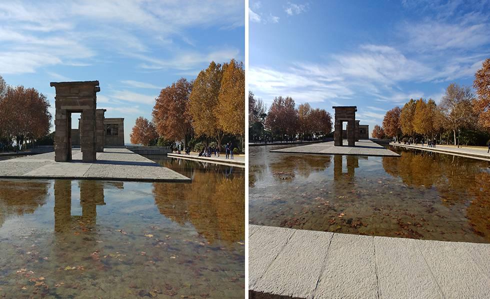 A la izquierda, fotografía del Templo de Debod (Madrid) realizada con el LG V30 con sensor angular normal. A la derecha, imagen tomada con el sensor gran angular.