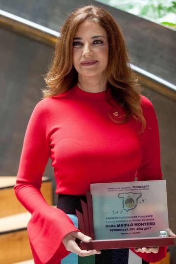 Mariló Montero, el pasado viernes tras recibir hoy el premio Periodista del Año 2017 por la fundación de donantes de sangre Fundaspe.