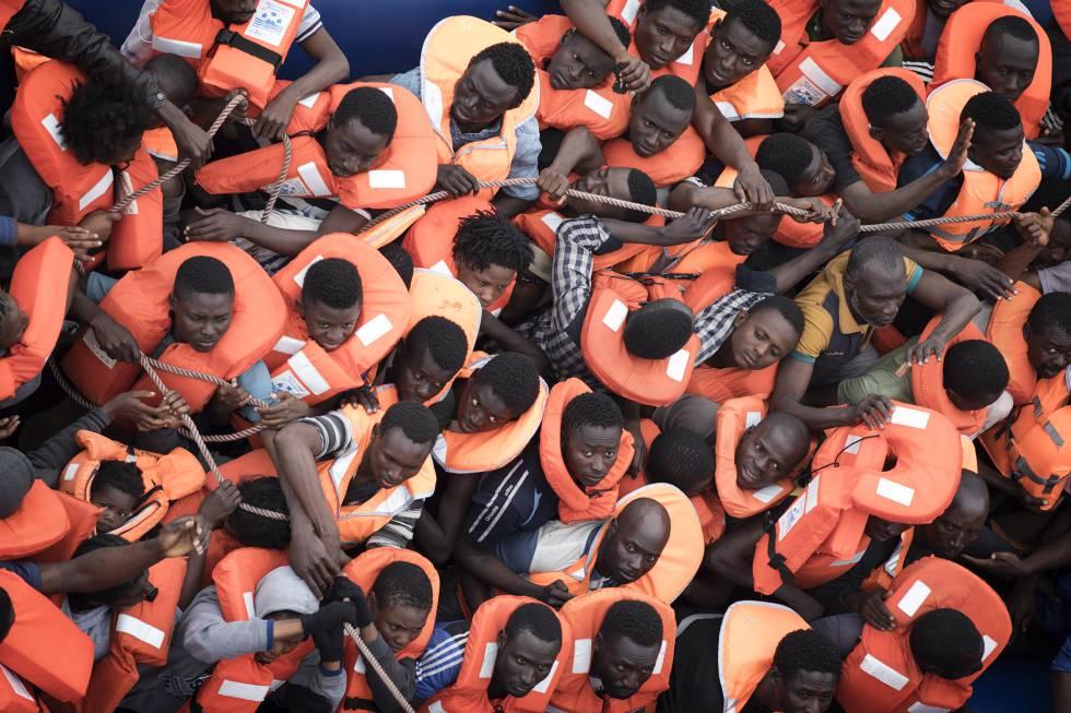 Operación de rescate de personas migrantes en el Mediterráneo, el pasado mes de marzo.