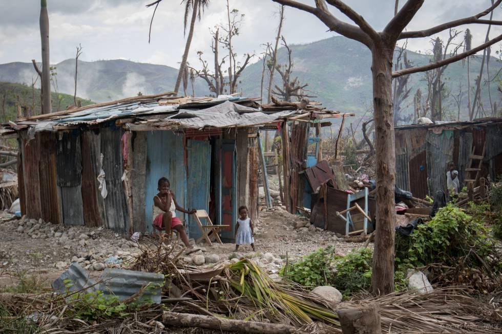 Casas destrozadas por el huracán Matthew en Seche, Haití.