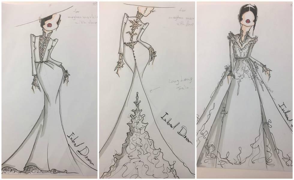 inbal dror: filtrados los primeros bocetos del posible vestido de