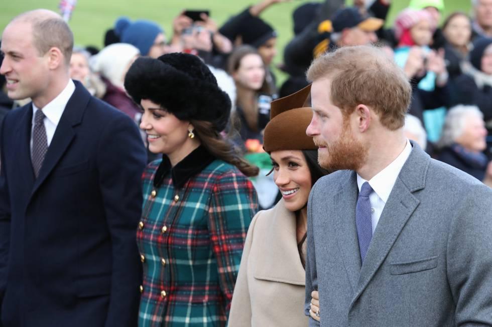 Los duques de Cambridge, junto a Enrique de Inglaterra y su prometida, Meghan Markle, en la primera foto que hay de las dos parejas juntas.