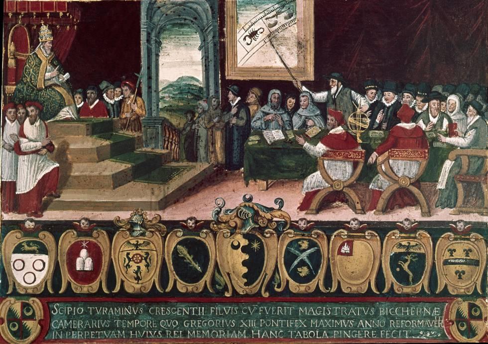 El papa GregorioXIII, durante rn la transición del calendario juliano al gregoriano (1582).