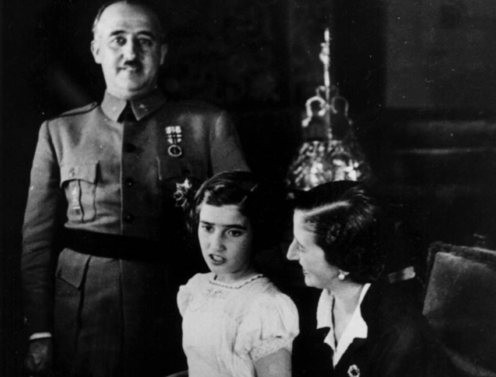 Dictator Francisco Franco With His Daughter Carmencita And Wife Carmen Polo