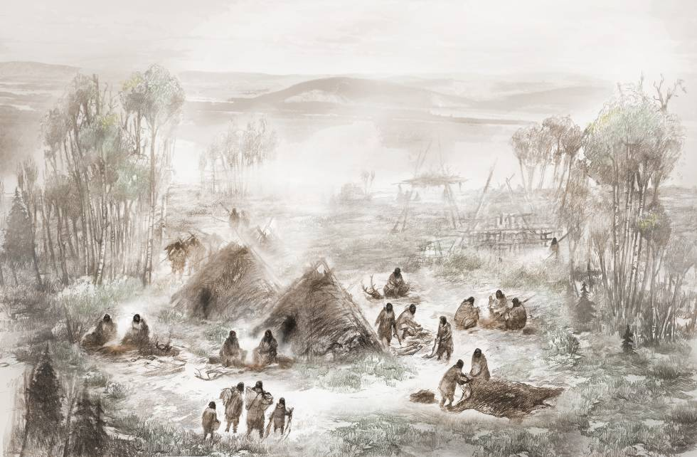 Ilustración de cómo debía ser el poblado de Pequeño Amanecer.