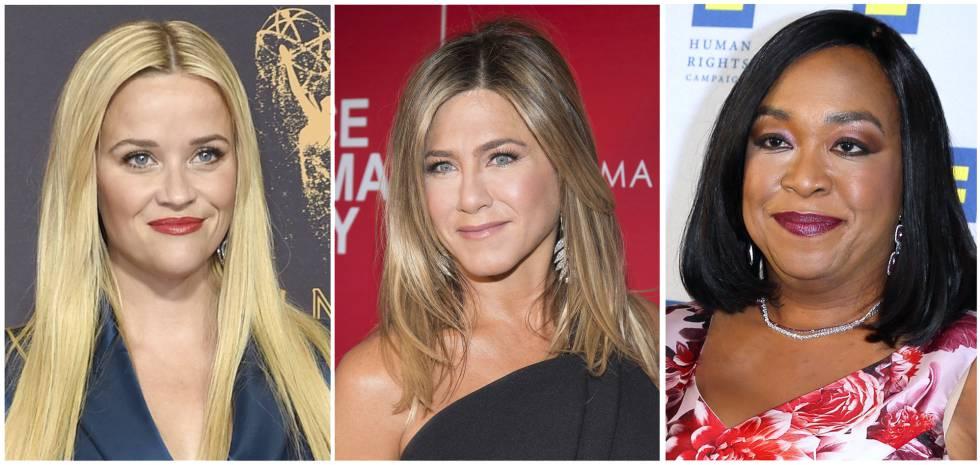 Reese Witherspoon, Jennifer Aniston y Shonda Rhimes, que se han sumado a la iniciativa de vestir de negro.