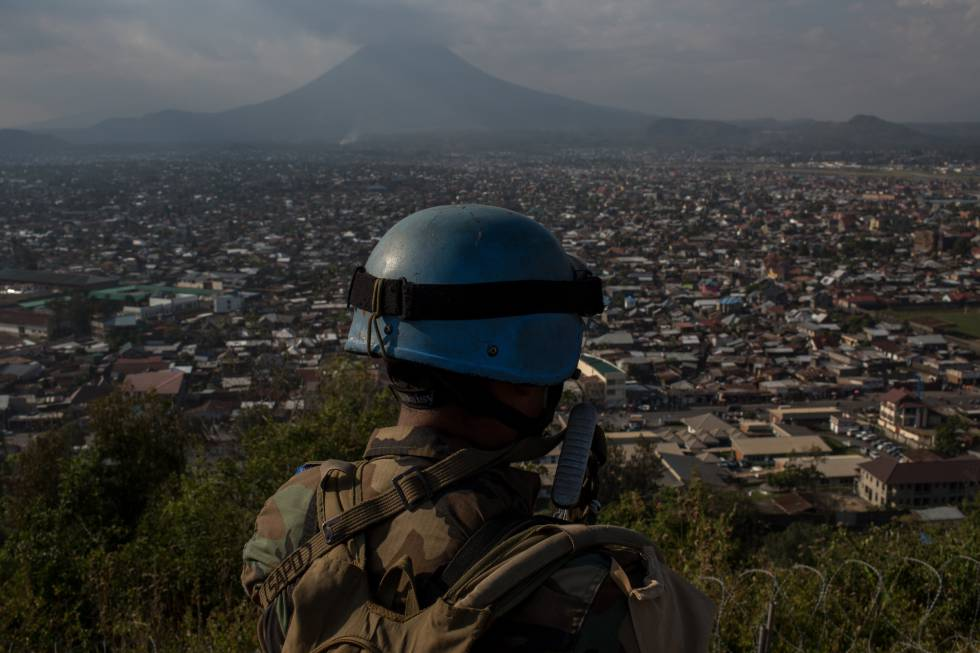 Un soldado de la Misión de Estabilización de Naciones Unidas en la República Democrática del Congo.