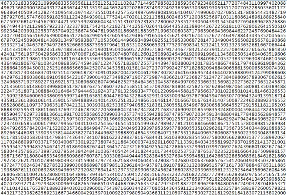 Comienzo del número primo más largo conocido hasta la fecha.