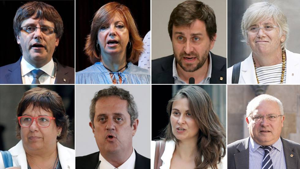 Carles Puigdemont (top left) and the seven officials who originally traveled to Brussels with him.