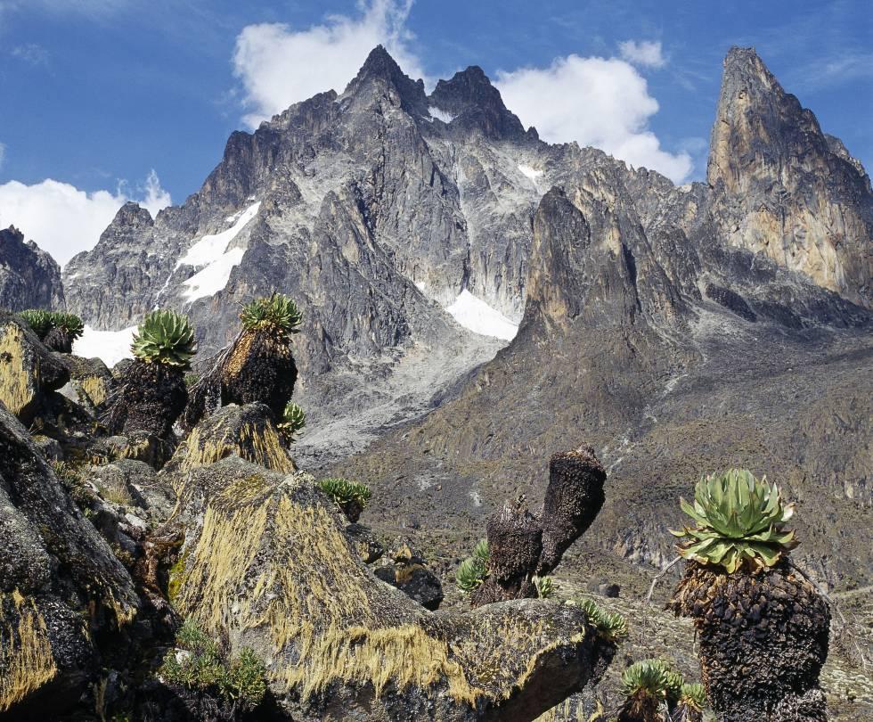 El Monte Kenia, la segunda montaña más alta de África. rn
