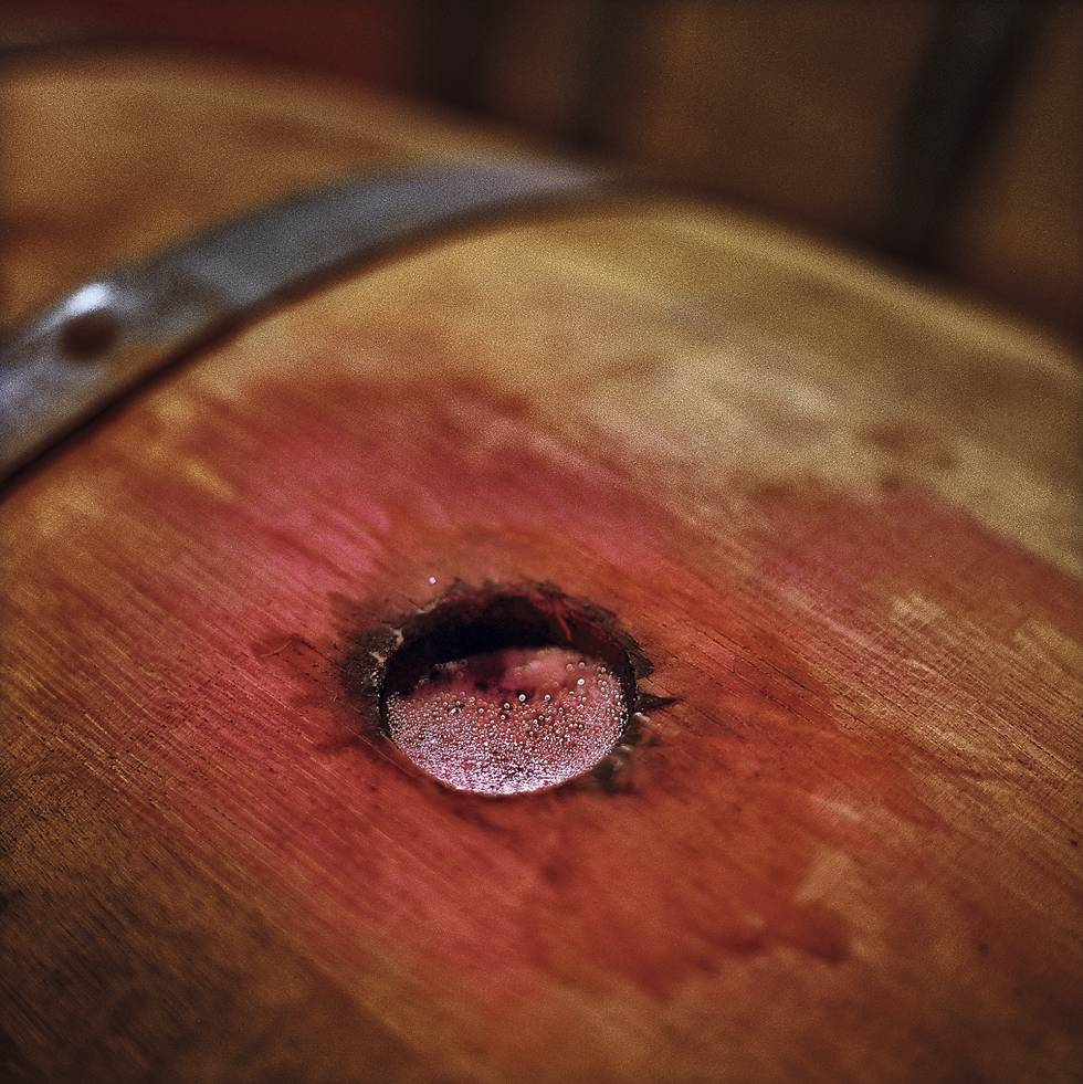 A barrel at Muga winery in La Rioja.