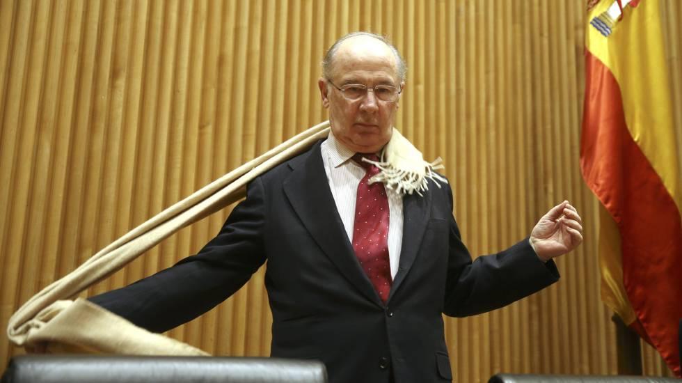 Llegada de Rodrigo Rato a la comisión de investigación de crisis financiera en el congreso en Madrid, el pasado martes.