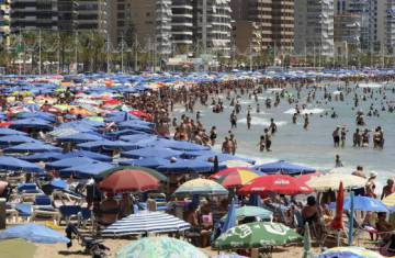 A packed beach in Benidorm.