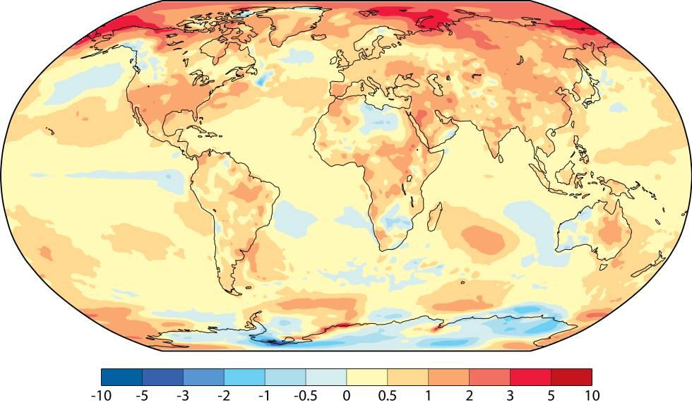 Diferencia entre la temperatura de 2017 y la media del periodo 1981-2010.