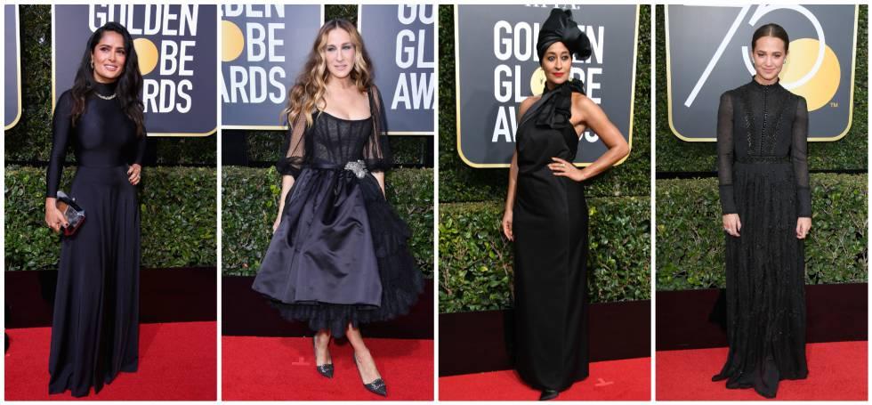 De izquierda a derecha: Salma Hayek (vestida de Balenciaga), Sarah Jessica Parker (de Dolce & Gabbana), Ellis Ross (de Marc Jacbos) y Alicia Vikander (con vestido de Louis Vuitton), en los Globos de Oro del pasado 8 de enero.