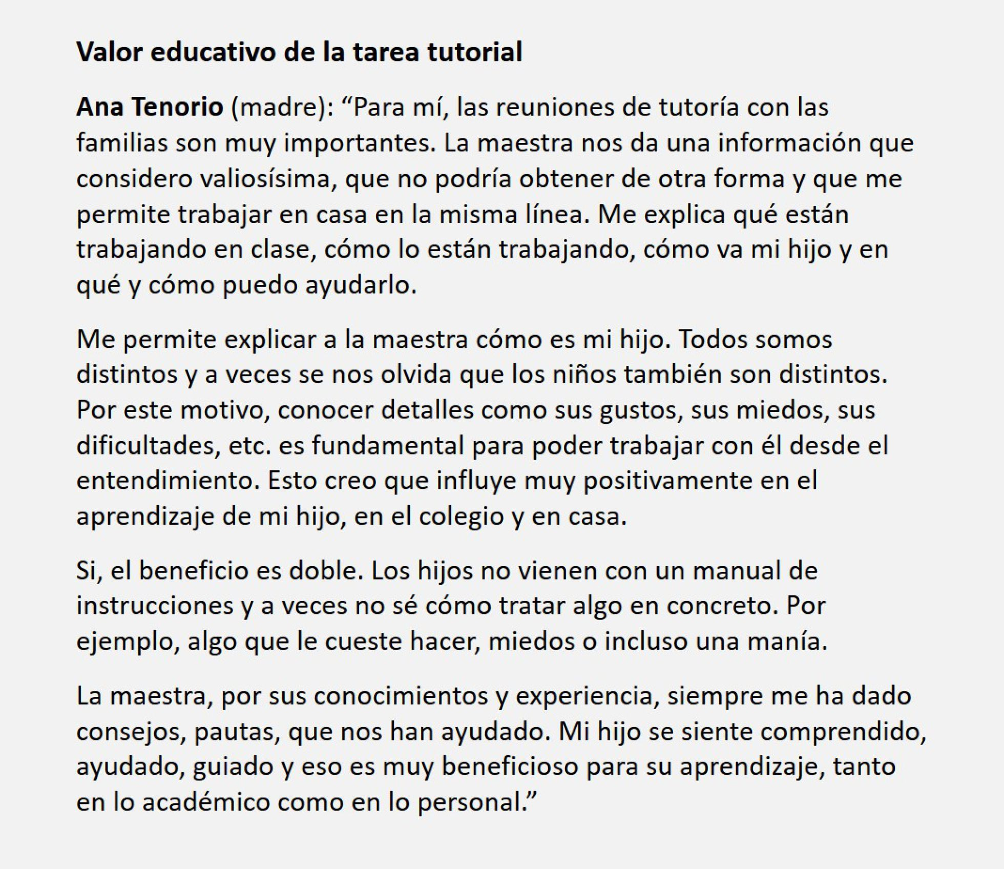 Valor educativo de la tarea tutorial