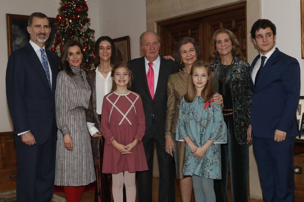 Almuerzo familiar en el Palacio de La Zarzuela con motivo del 80 aniversario de Su Majestad el Rey Don Juan Carlos el pasado 5 de enero.