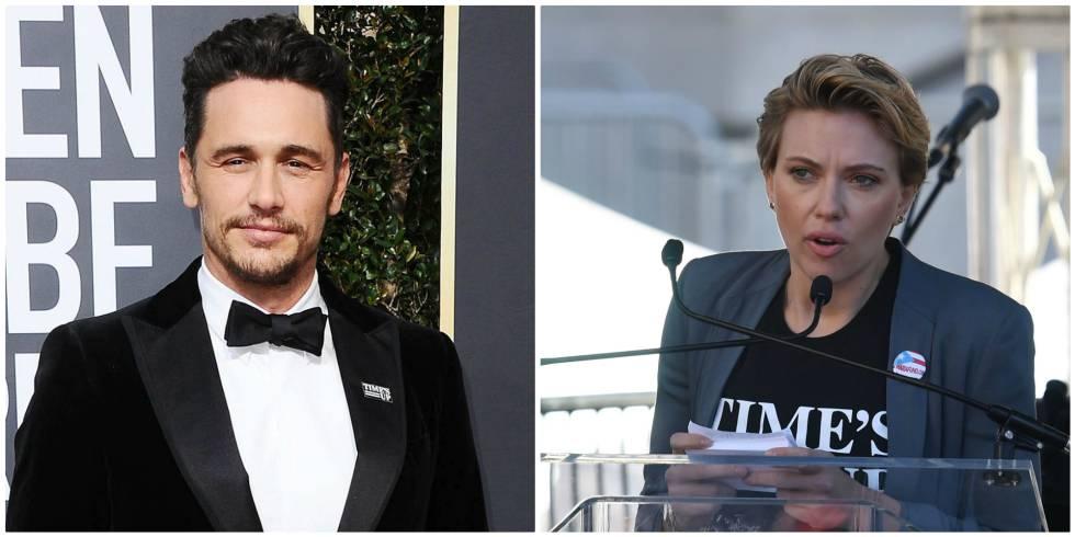 James Franco, en los Globos de Oro, y Scarlett Johansson, el sábado en la Marcha de las Mujeres en Los Ángeles.