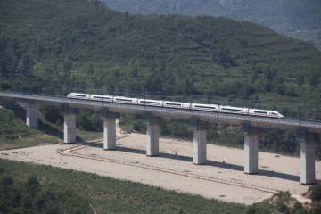 The high-speed AVE train crossing Tarragona province.