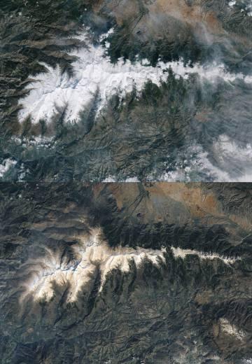 Nieve parda. Arriba, aspecto de Sierra Nevada vista desde el satélite el 18 de febrero de 2017. Abajo, la sierra 10 días mas tarde. La nieve parduzca se debe al polvo sahariano.