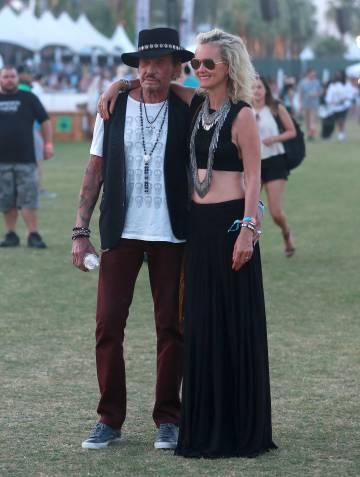 Johnny Halliday y Laeticia Boudou en 2015 en un festival de música en California.