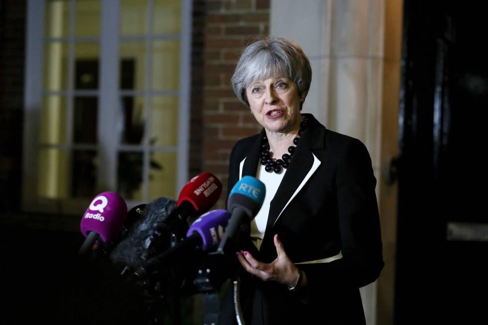 La primera ministra británica Theresa May este lunes.