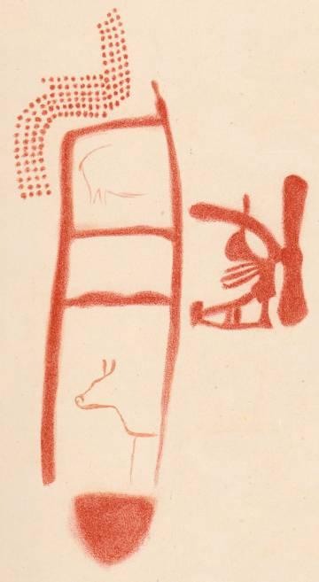 La pseudoescalera neandertal, en un dibujo de las pinturas de La Pasiega realizado por el prehistoriador francés Henri Breuil en 1913 (las siluetas animales son posteriores).