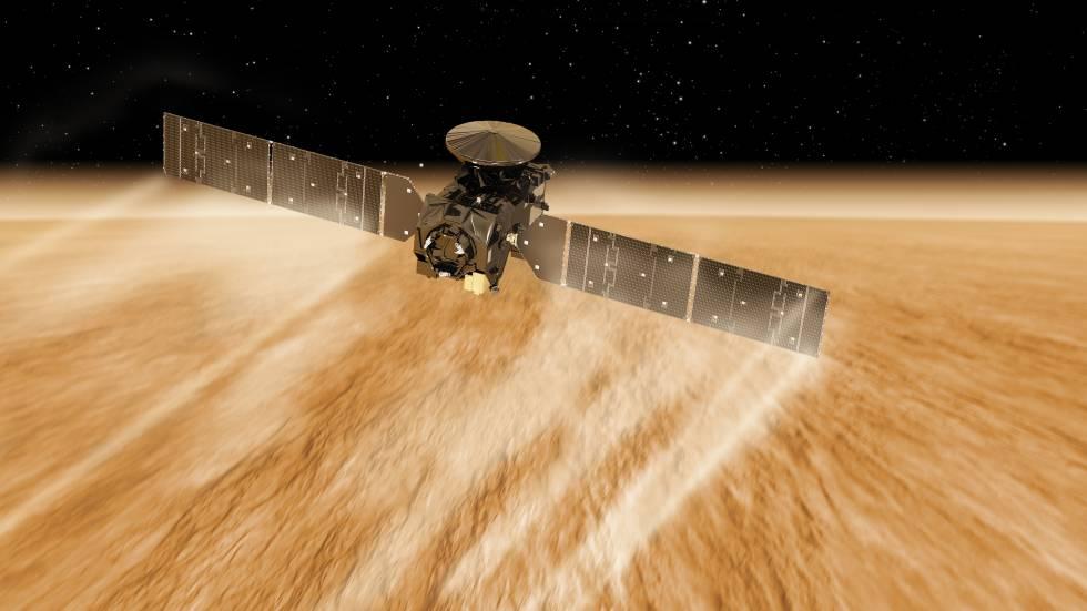 Recreación artística de la sonda ExoMars frenando para colocarse en su órbita sobre Marte